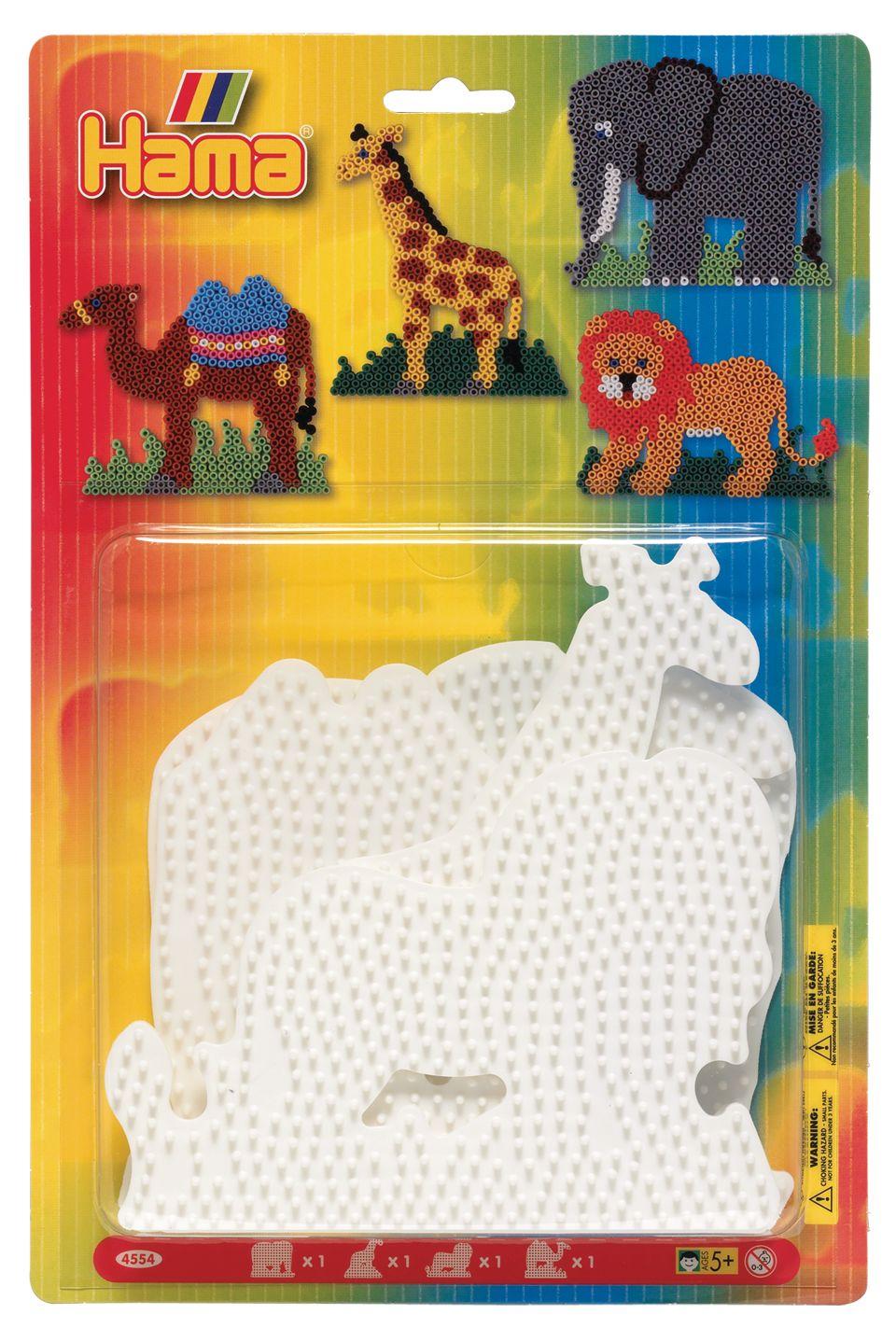 Купить Набор основ для термомозаики слон, жираф, лев, верблюд, блистер Hama 4554, Мозаики