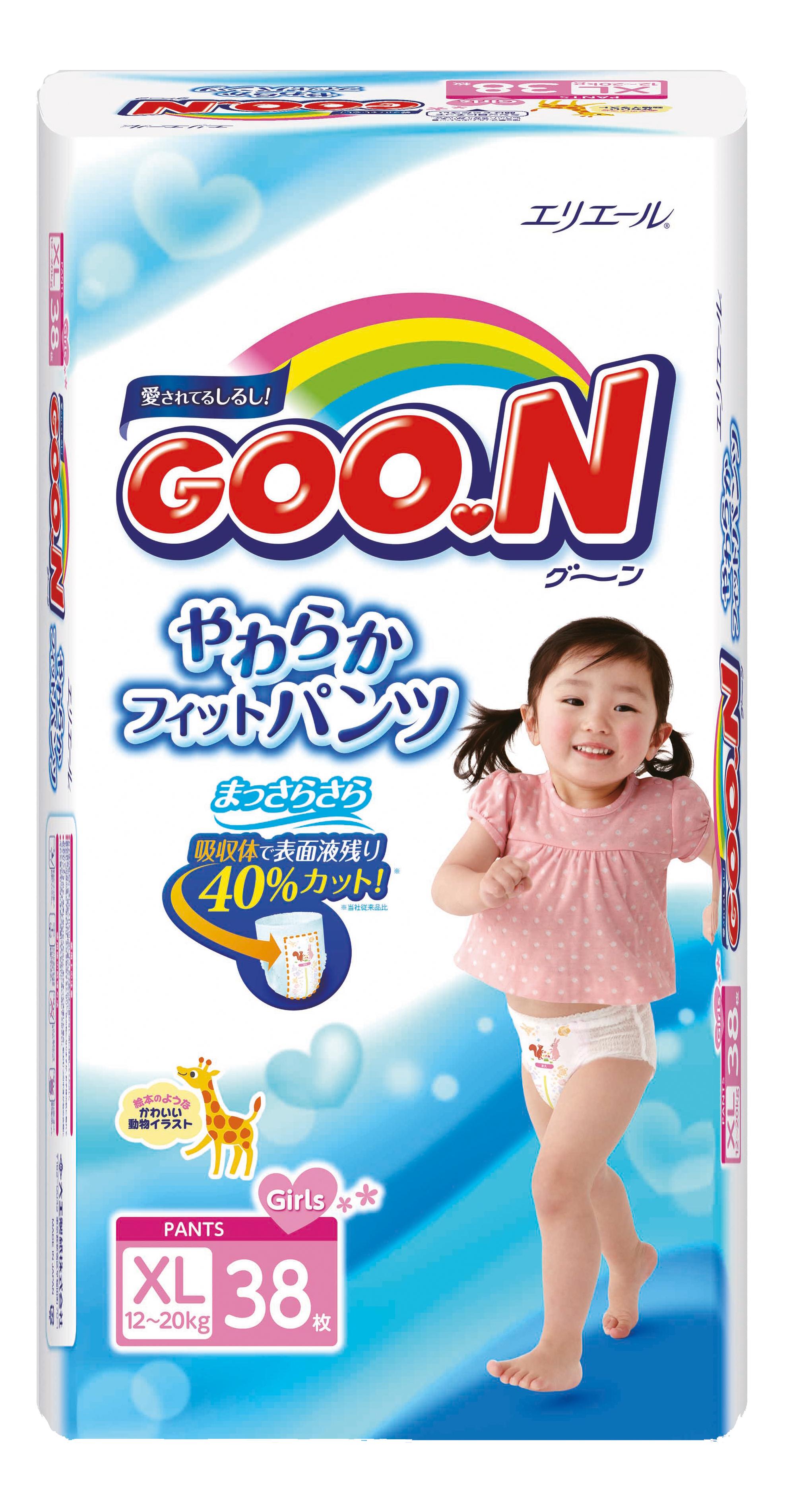 Подгузники-трусики Goon для девочек XL (12-20 кг), 38 шт.