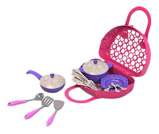 Купить Волшебная Хозяюшка, Набор посуды кухонный сервиз волшебная хозяюшка, 23 предмета в сумке-корзинке, НОРДПЛАСТ, Игрушечная посуда