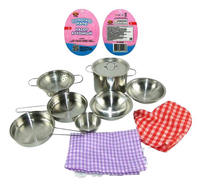 Купить Набор посуды игрушечный Помогаю Маме металлической для кухни PT-00266, WK-B0955, ABtoys, Игрушечная посуда