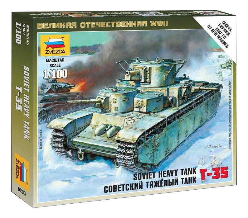 Модель для сборки Zvezda 1:100 Советский тяжелый танк Т-35