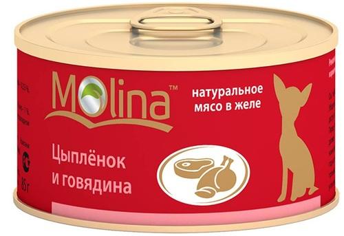 Консервы для собак Molina, цыпленок, говядина, 85г