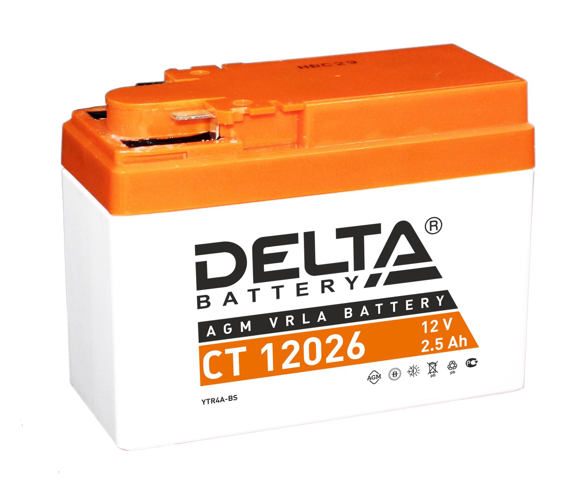 Аккумулятор автомобильный автомобильный Delta CT 12026 2.5 Ач фото