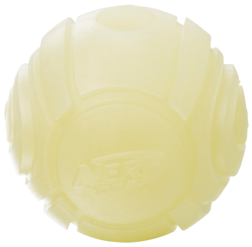Апорт для собак NERF Мяч теннисный для бластера светящийся, белый, длина 6 см фото