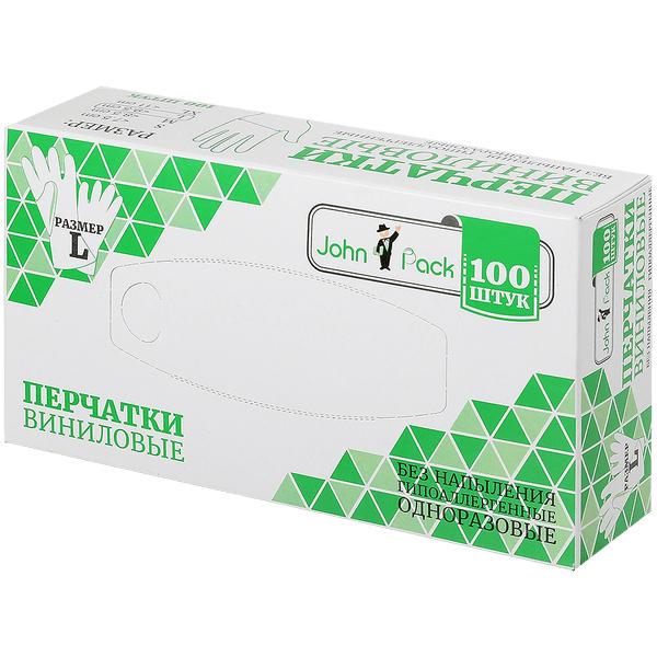 Купить Перчатки JohnPack виниловые неопудренные нестерильные размер L 100 шт.