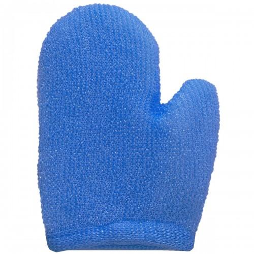 Мочалка - варежка VT мелкой вязки синяя