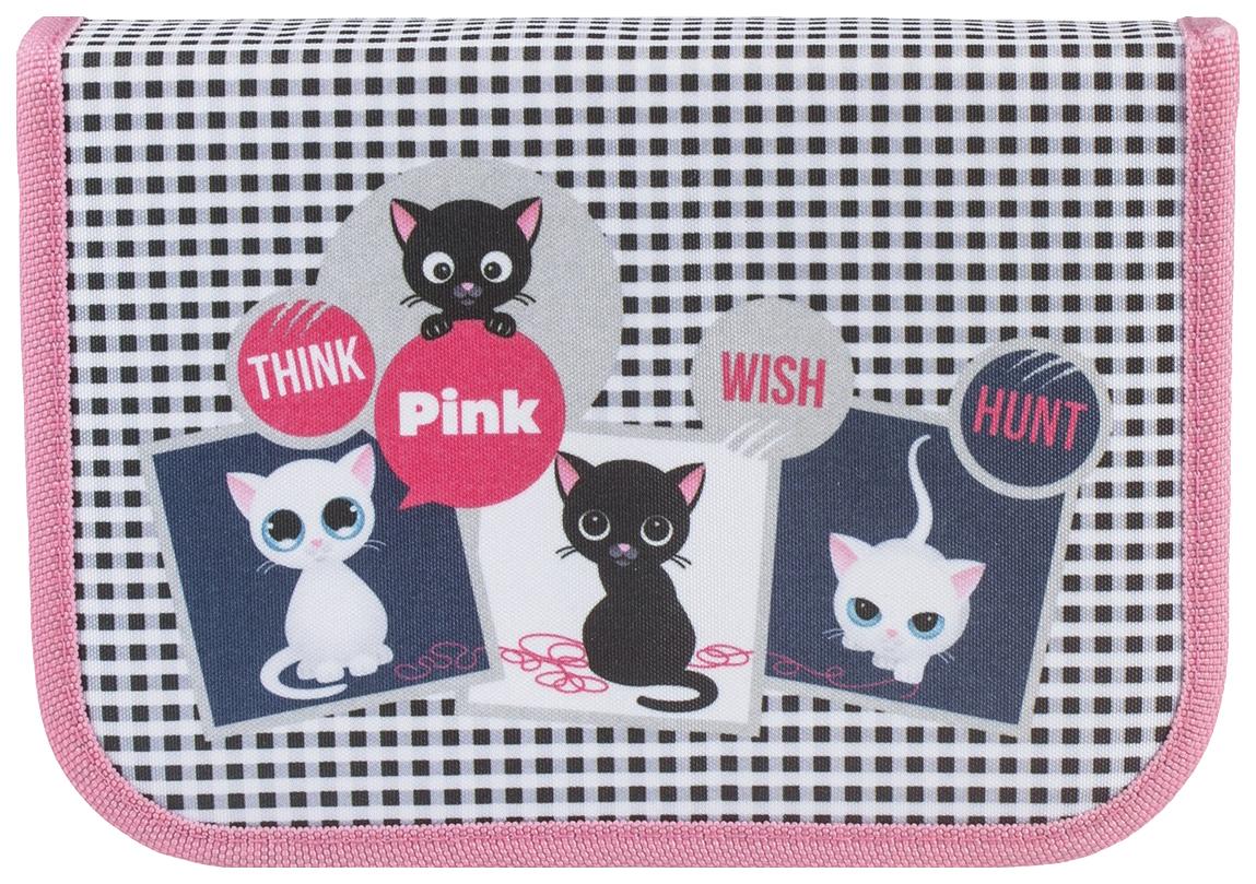 Пенал на молнии Tiger «Think Pink» 1 отделение + 1 откидная планка 19,5x13,5x3 см
