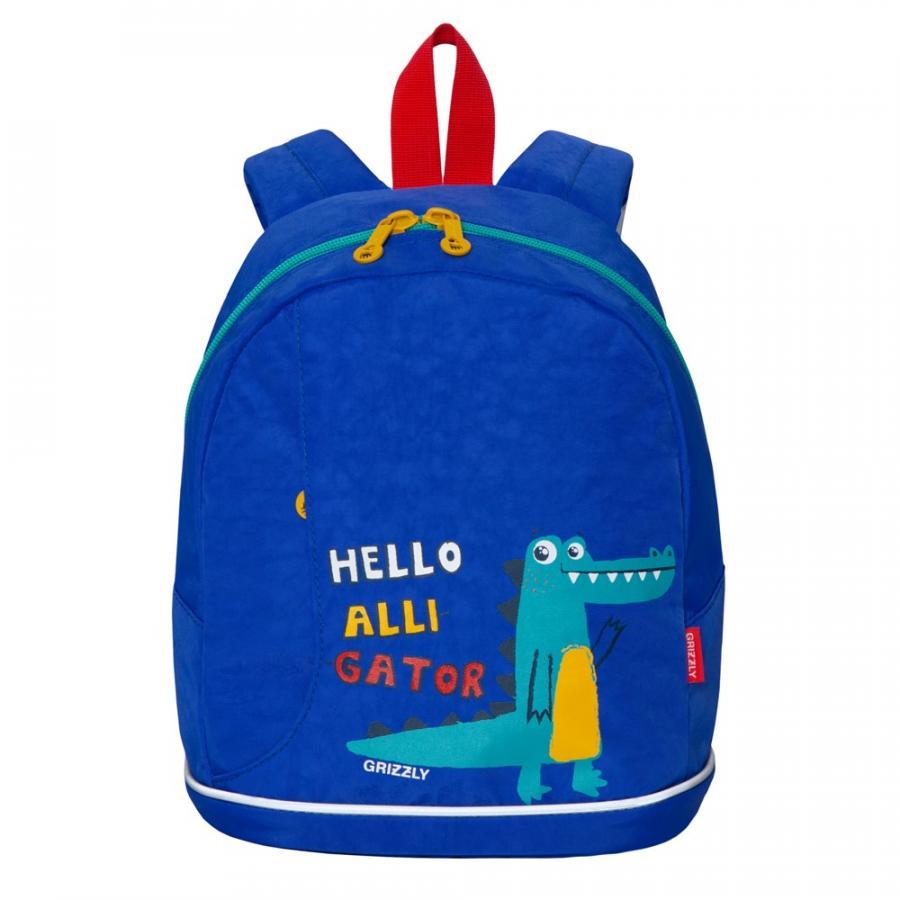 Дошкольный рюкзак для мальчика Grizzly Hello Alligator синий