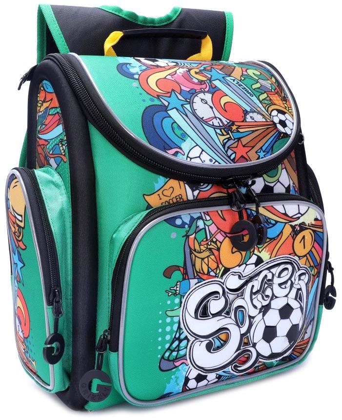 Купить Рюкзак школьный Grizzly для мальчиков Зеленый RA-970-6, Школьные рюкзаки и ранцы