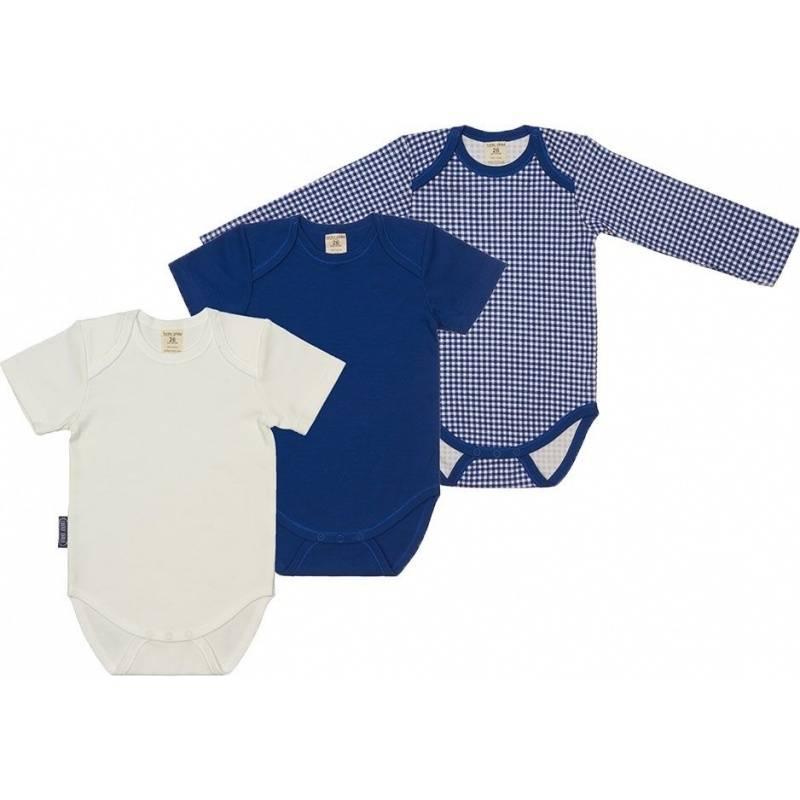 Купить Комплект боди 3 шт Lucky Child, цв. синий, 68 р-р, Боди и песочники для малышей