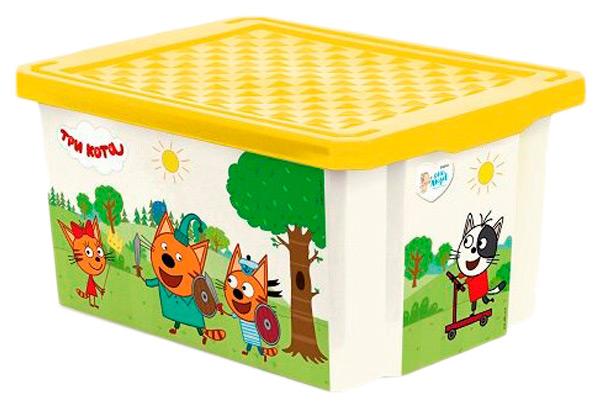 Ящик для хранения Три кота , 17 л, жёлтый, Little Angel, Ящики для хранения игрушек  - купить со скидкой