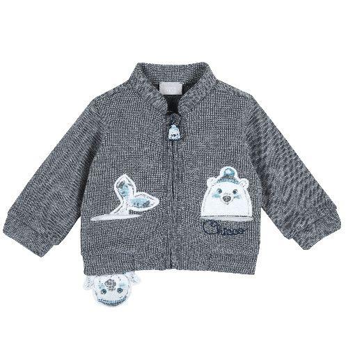 Купить 9096936, Толстовка Chicco для мальчиков р.80 цв.темно-серый, Кофточки, футболки для новорожденных