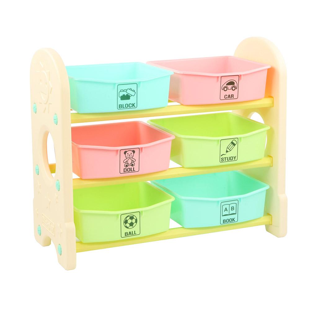 Купить EDU PLAY Стеллаж для игрушек с ящиками, 3 полки, Цветной(76х36х65.5), Edu-play,