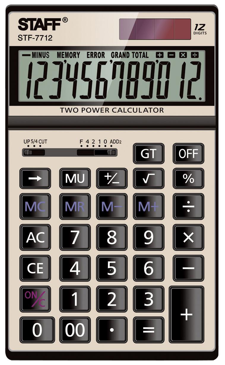 Калькулятор Staff настольный металлический STF-7712-GOLD, ЗОЛОТИСТЫЙ, 12 разрядов, ...