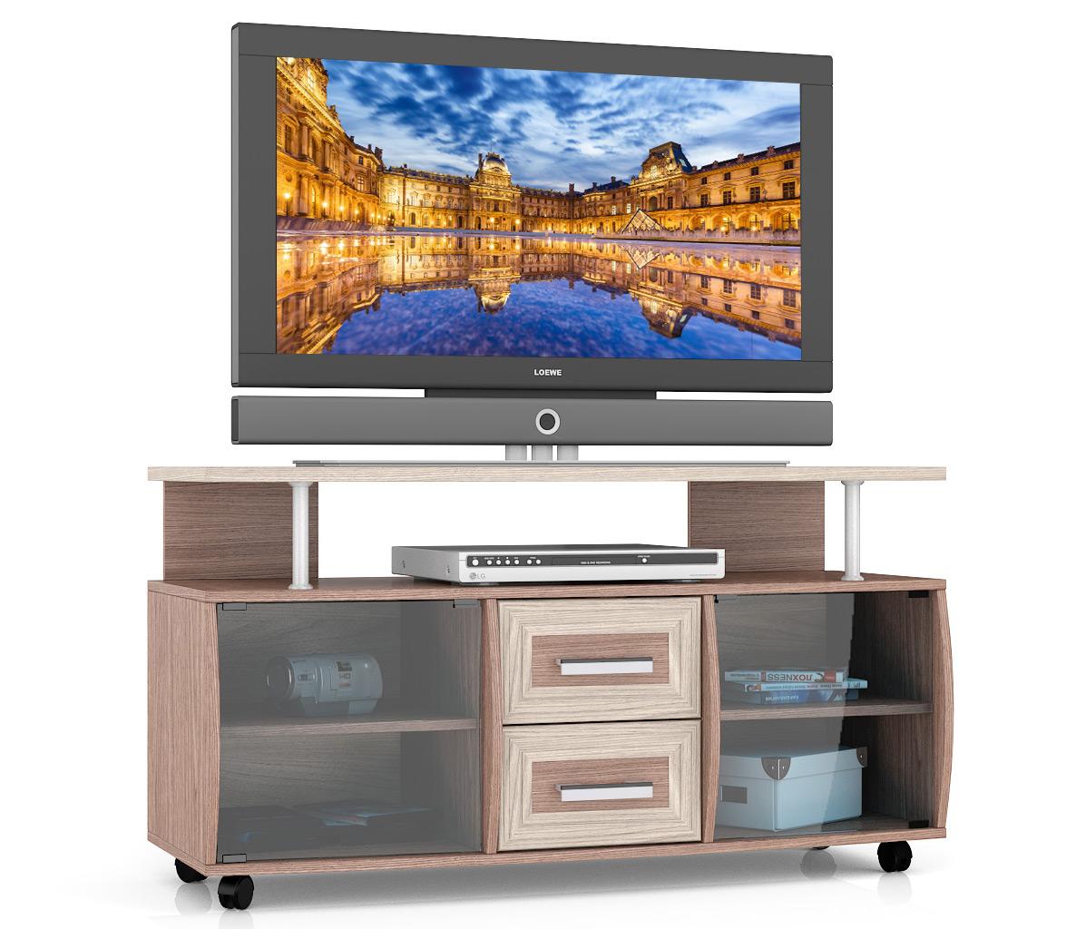Тумба под телевизор выкатная Мебельный Двор МД-Т9 120х45х65 см, ясень шимо тёмный