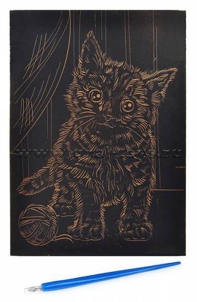 Гравюра Рыжий кот А5 с эффектом золота Игривый котенок
