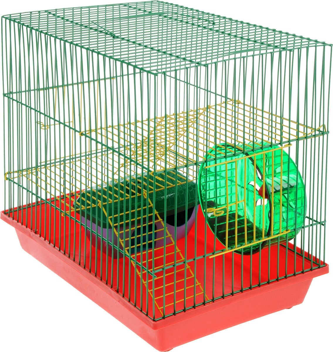 Клетка для грызунов ZooMark, 3-этажная (ж), комплект, 36х24х38см