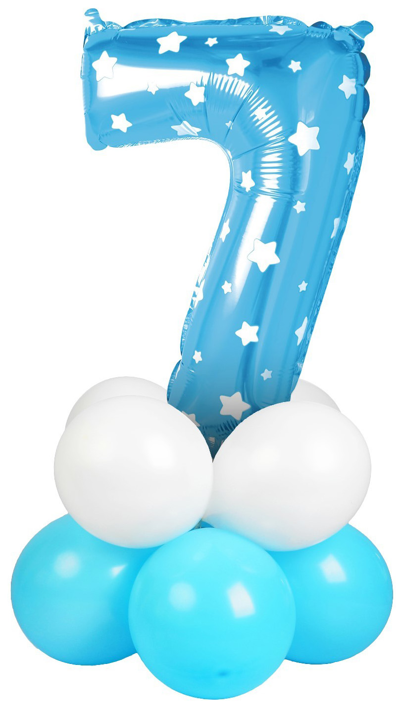 Купить Букет из шаров 7 , цифра, фольга, латекс, набор 9 шт, цвет голубой звезды Sima-Land, Воздушные шарики