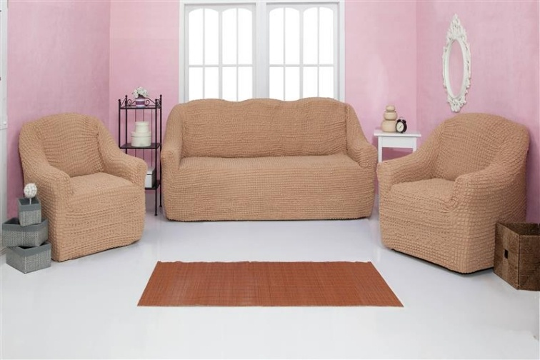 Комплект чехлов на диван и кресла без оборки CONCORDIA, светло-коричневый, 3 предмета