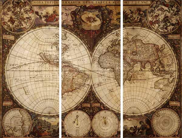 Модульная картина на холсте 60x50 Карта мира 1 Ekoramka HE-107-112 по цене 1 490