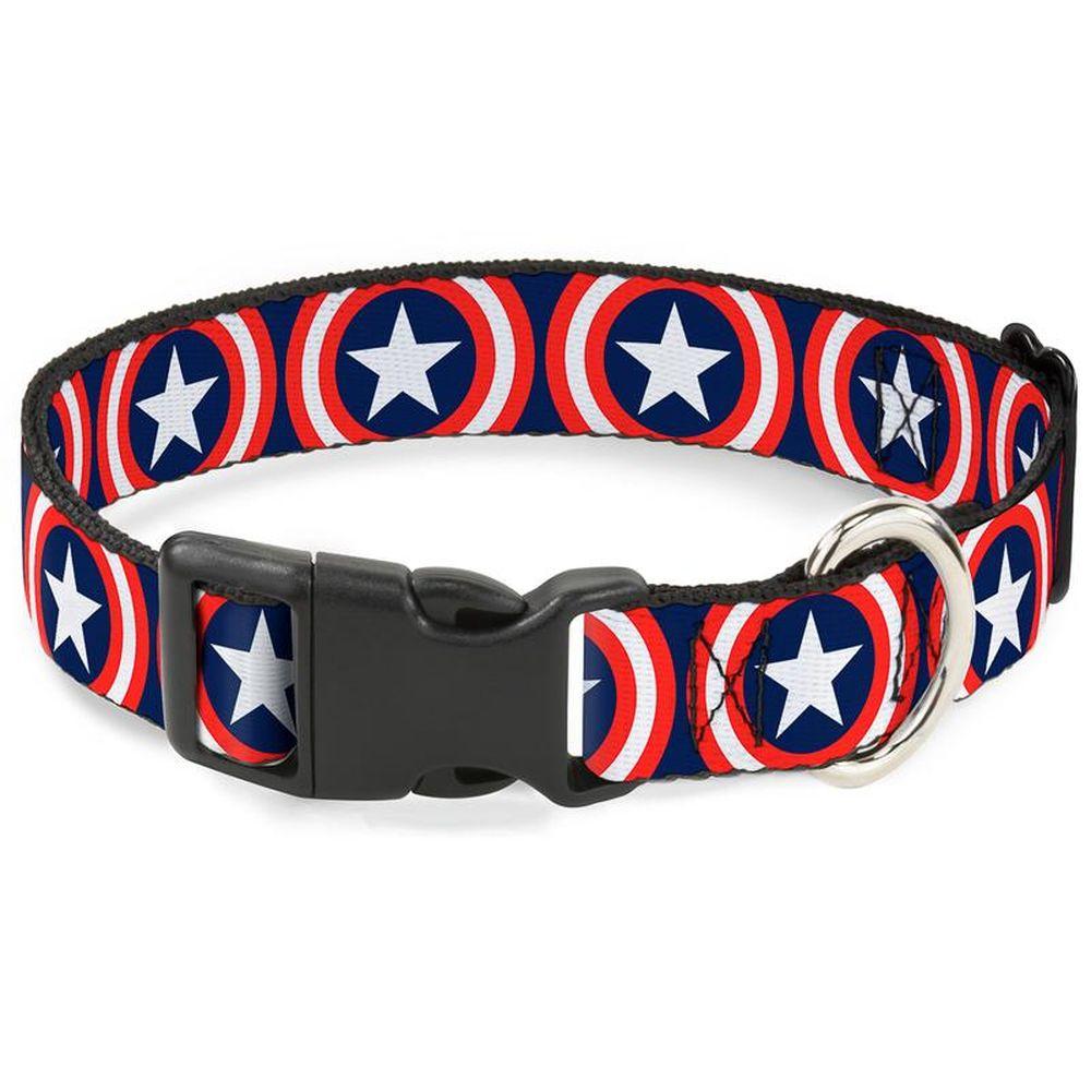 Ошейник для собак Buckle-Down Капитан Америка, с пластиковой застежкой, синий, M, 28-43 см фото
