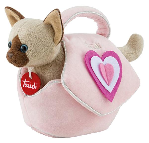 Купить Мягкая игрушка Trudi Сиамский котенок в розовой сумочке 29716, Мягкие игрушки животные