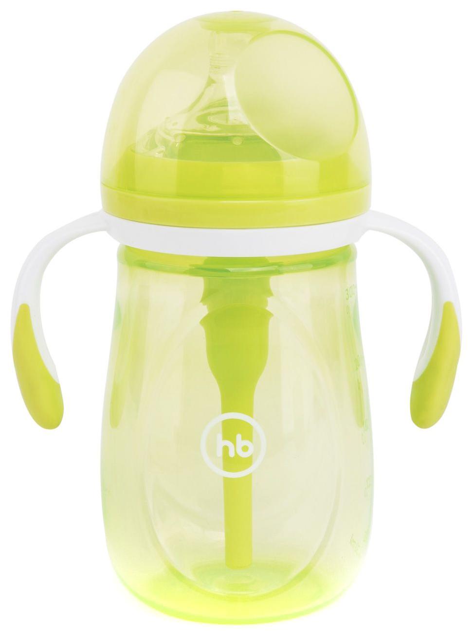 Бутылочка антиколиковая Happy baby с ручками и силиконовой соской 300 мл Lime
