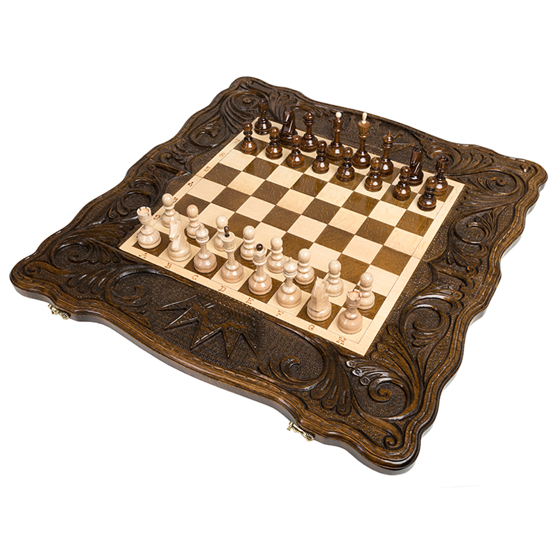 Шахматы и нарды резные Haleyan Корона 60