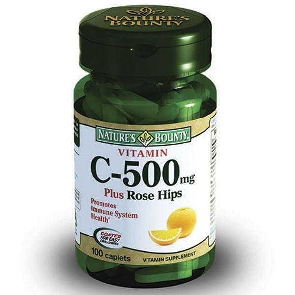 Купить Нэйчес Баунти Витамин С и шиповник таблетки 500 мг 100 шт., Nature's Bounty