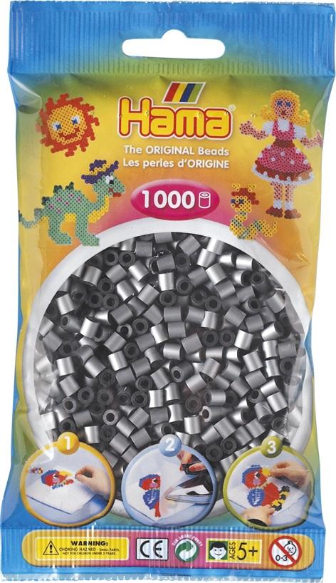 Бусинки MIDI 1000шт. серебряные Hama 207 62