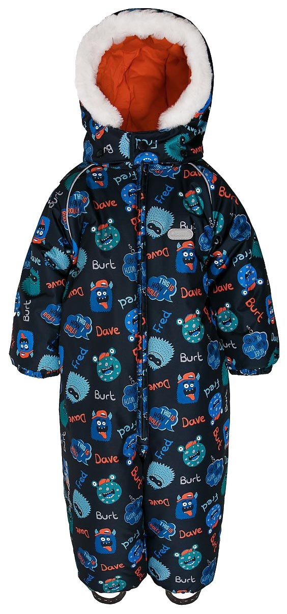 Купить W18B2003P(1), Комбинезон зимний для мальчика Barkito, темно-синий с рисунком Монстры р.80, Детские комбинезоны зимние