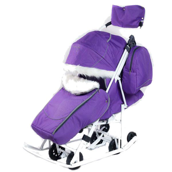 Купить Санки-коляска Pikate Снеговик Фиалка, Санки складные