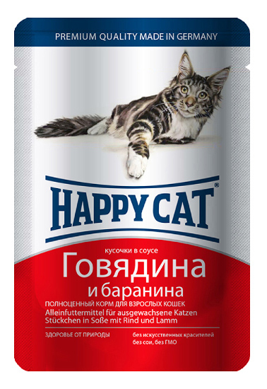 Влажный корм для кошек Happy Cat, с говядиной и бараниной в соусе, 22шт по 100г фото
