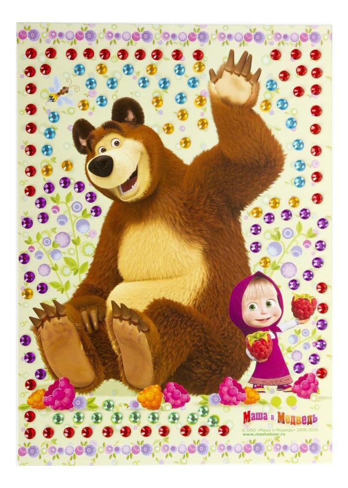 Купить Рисунок из страз, Аппликация из страз, пайеток Маша и Медведь Рисунок из страз, Детские аппликации