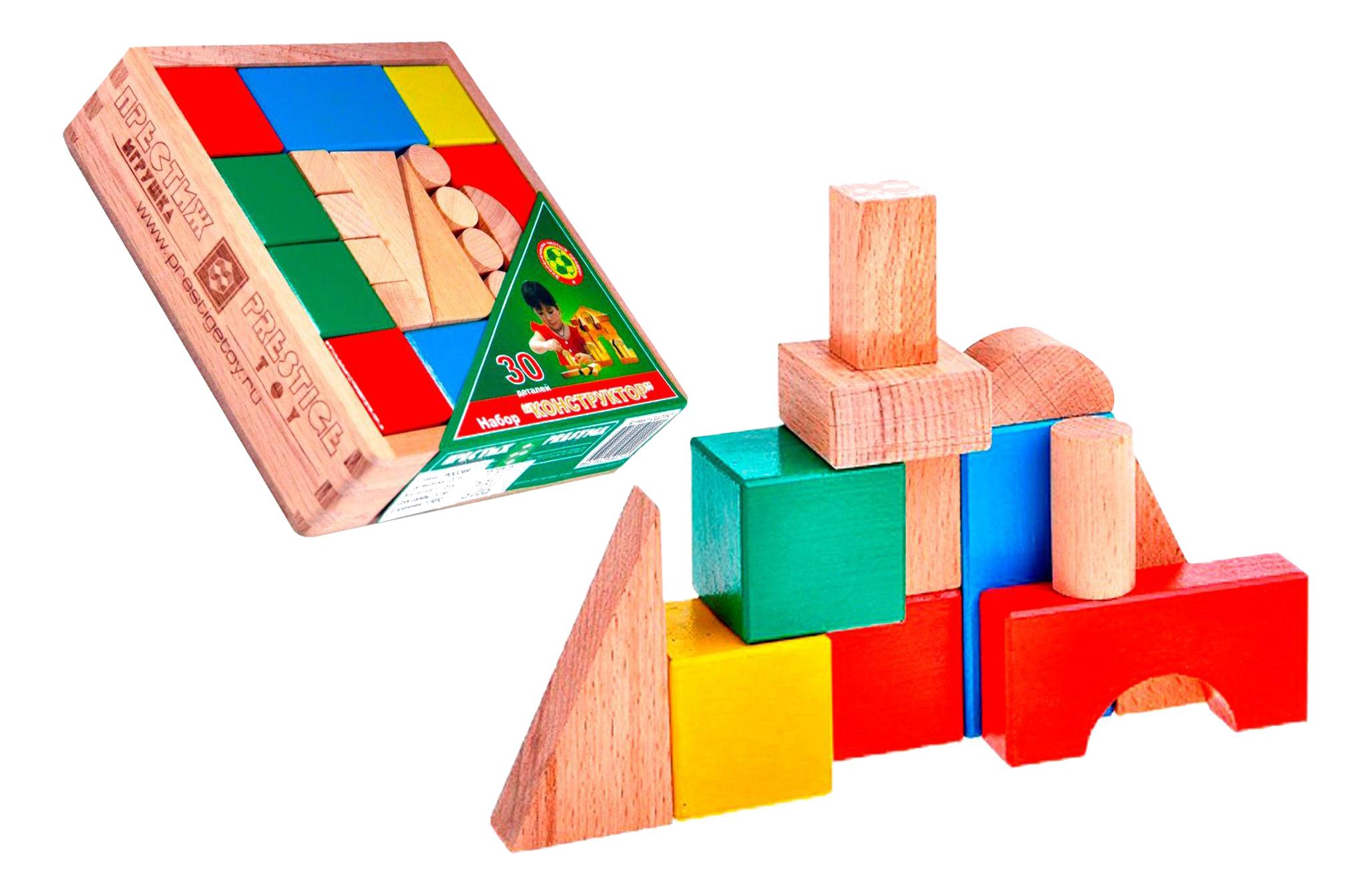 Купить СЦ2152, Конструктор деревянный Престиж-игрушка Конструктор деревянный цветной 30 деталей, Престиж-Игрушка,