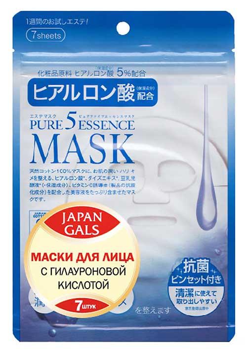 Маска для лица Japan Gals с гиалуроновой кислотой Pure 5 Essential 7 шт
