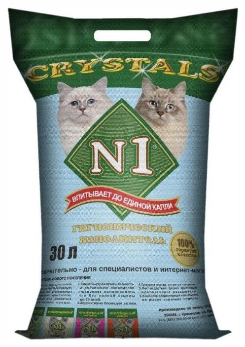 Наполнитель для кошачьего туалета №1 Crystals силикагелевый без запаха, 30 л, 12,2 кг