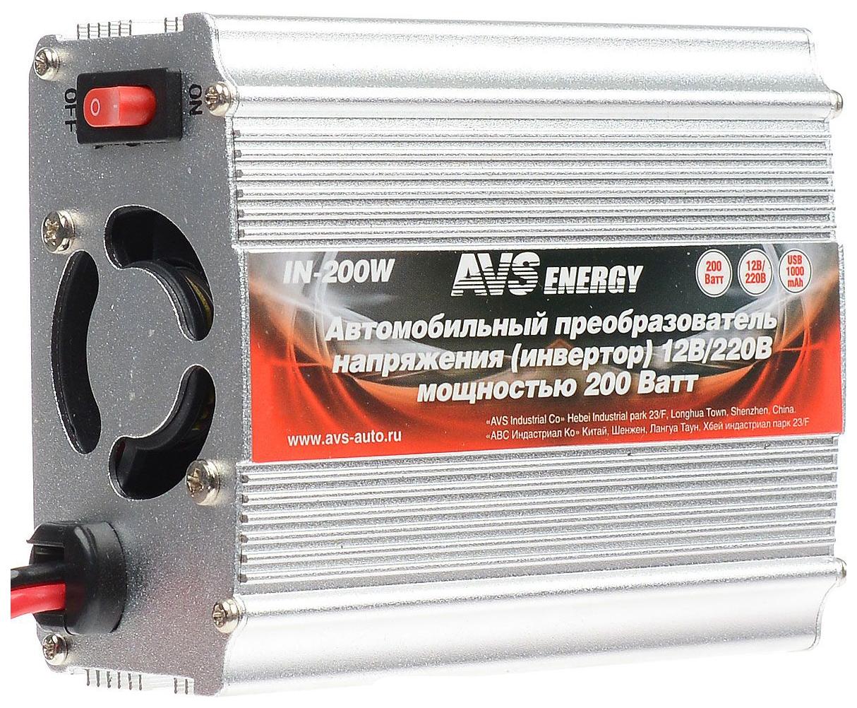 Автомобильный преобразователь напряжения AVS 12В 220В 200Вт