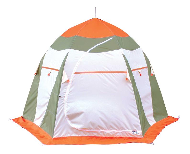 Палатка автомат Митек Нельма Люкс трехместная оранжевая/зеленая/серая