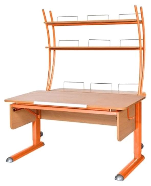 Парта Астек Моно 2 С надстройкой Бук Оранжевый