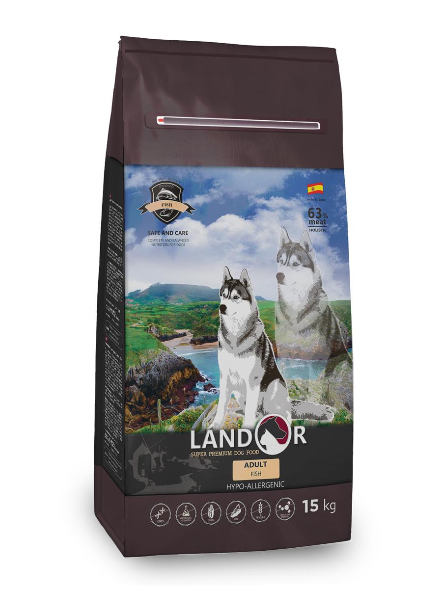 Сухой корм для собак Landor, все породы, гипоаллергенный, рыба с рисом, 15 кг по цене 6 110