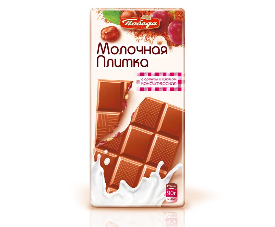 Кондитерская плитка Победа Вкуса молочная с орехом и изюмом фото