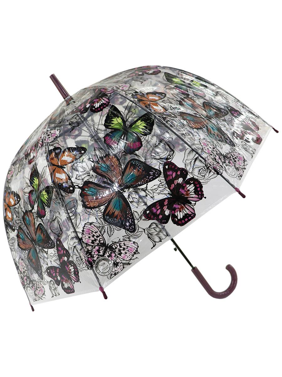Зонт трость МихиМихи Бабочки прозрачный купол, коричневый