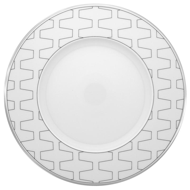 Тарелка десертная 23см Vista Alegre TRASSO, цвет белый, серебряный