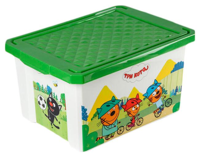 Купить Ящик для хранения Три кота , 17 л, зеленый, Little Angel, Ящики для хранения игрушек