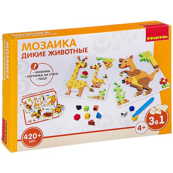 Логическая игра Мозаика. Дикие животные , 420 деталей, Bondibon, Мозаики  - купить со скидкой