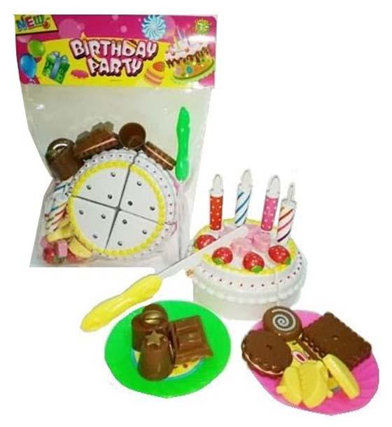 Купить Торт праздничный в наборе с аксессуарами, 19х26х6 см, Junfa toys,