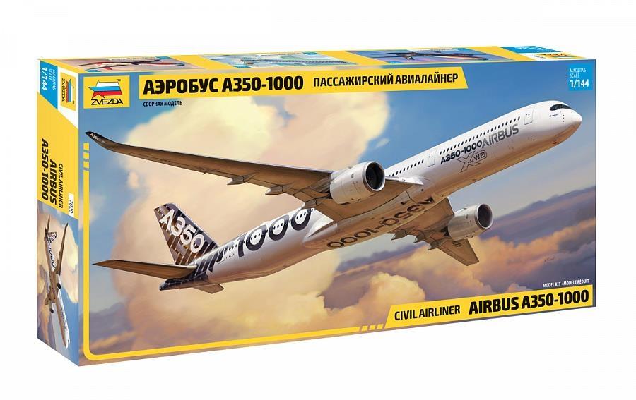 Купить Самолет, Сборная модель ZVEZDA Аэробус А-350-1000 Пассажирский авиалайнер масштаб 1/144 7020, Модели для сборки