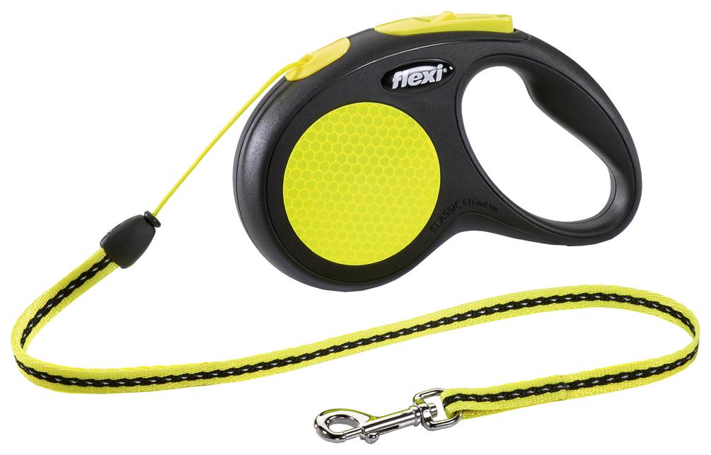Поводок рулетка flexi Neon 500см черный, желтый