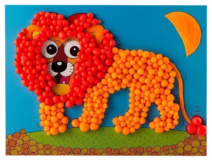Купить Аппликация Дрофа-Медиа Лев 3+ из пластилиновых шариков, Детские аппликации